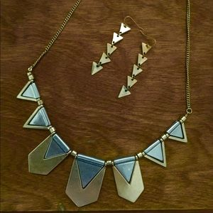 Gold & silver tone articulated geometric necklace